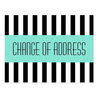 Cartão Postal Mover-se novo azul do endereço do aqua elegante na
