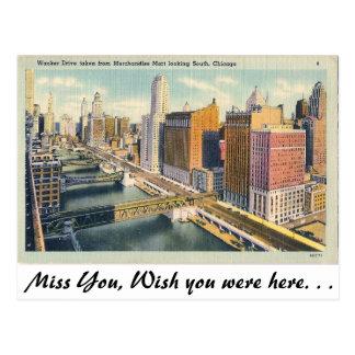 Cartão Postal Movimentação de Wacker, Chicago, Illinois