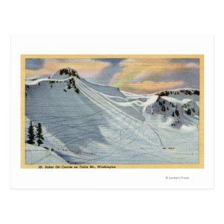 Cartão Postal Mt. Padeiro, Washington - vista do esqui do