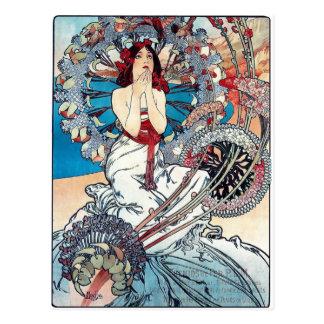 Cartão Postal Mucha Monaco Monte - senhora do poster do art deco