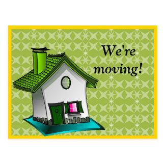Cartão Postal Mudança da casa de endereço verde e branca