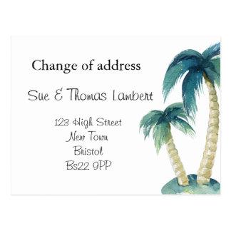 Cartão Postal Mudança da palmeira do tema da praia de endereço