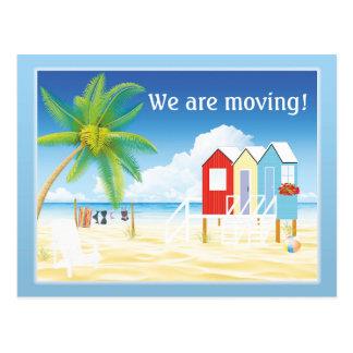 Cartão Postal Mudança das cabanas da praia de endereço tropical