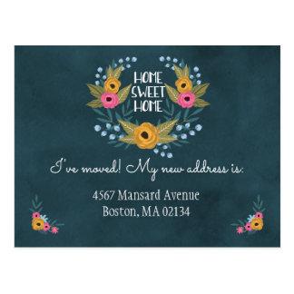 Cartão Postal Mudança dos azuis marinhos de endereço floral