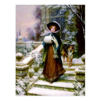 Cartão Postal Muff da mão do Victorian do cão do Collie da
