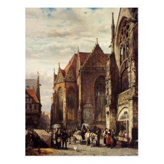 Cartão Postal Muitas figuras no mercado na frente de…