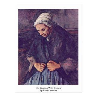 Cartão Postal Mulher adulta com o rosário por Paul Cezanne
