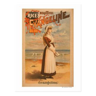 Cartão Postal Mulher bonita do Evangeline do arroz no oceano