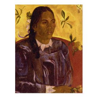 Cartão Postal Mulher com Gardenia por Paul Gauguin