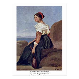 Cartão Postal Mulher com o bandolim por Jean-Baptiste Corot