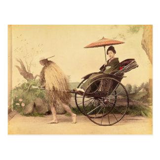 Cartão Postal Mulher com parasol, vintage de Japão