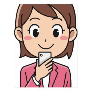 Cartão Postal Mulher com Smartphone