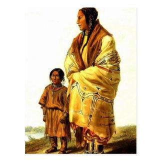 Cartão Postal Mulher de Karl Bodmer- Dacota e menina de