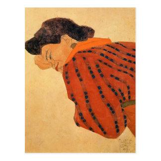 Cartão Postal Mulher de reclinação de Egon Schiele- com blusa