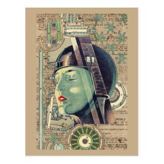 Cartão Postal Mulher de Steampunk da metrópole