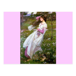 Cartão Postal Mulher descalça na pintura do vento