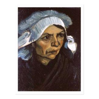 Cartão Postal Mulher do camponês com boné branco, Vincent van