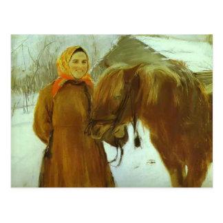 Cartão Postal Mulher do camponês de Valentin Serov com um cavalo