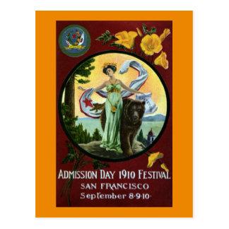 Cartão Postal Mulher do festival do dia de admissão de