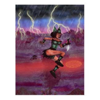 Cartão Postal mulher do guerreiro da pintura na luta da armadura