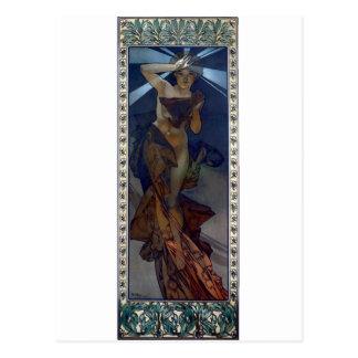 Cartão Postal mulher do poster do nouveau da arte da estrela da