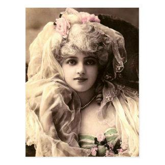 Cartão Postal Mulher do Victorian do vintage