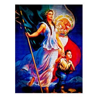 Cartão Postal Mulher e criança da bandeira mexicana