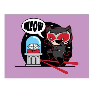 Cartão Postal Mulher-gato de Chibi que rouba um diamante