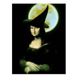 Cartão Postal Mulher Mona Lisa o Dia das Bruxas de Witchy
