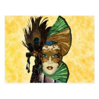 Cartão Postal Mulher na arte do mascarada