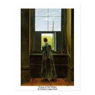 Cartão Postal Mulher na janela por Friedrich Caspar David