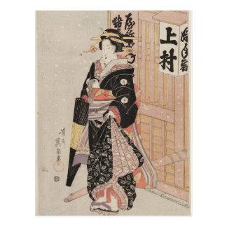 Cartão Postal Mulher na neve por Keisai Eisen