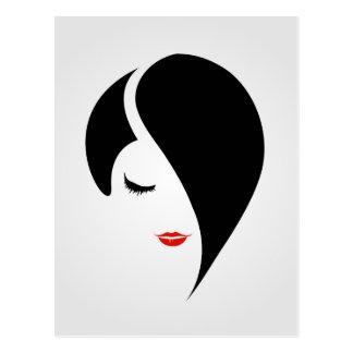 Cartão Postal Mulher no batom e no cabelo vermelhos do emo