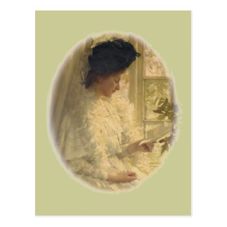Cartão Postal Mulher no branco