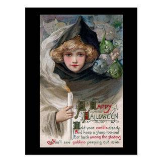 Cartão Postal Mulher que guardara o vintage o Dia das Bruxas da