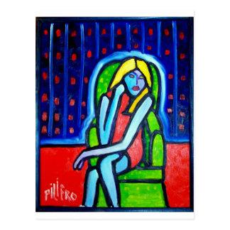 Cartão Postal Mulher verde da cadeira por Piliero