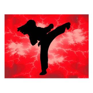Cartão Postal Mulher vermelha do relâmpago das artes marciais