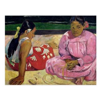 Cartão Postal Mulheres de Tahiti, na praia, 1891