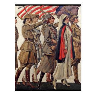 Cartão Postal Mulheres de WWI que nutrem recrutas