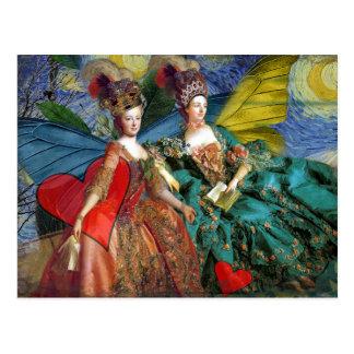 Cartão Postal Mulheres lunáticas da borboleta dos Gêmeos góticos