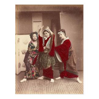 Cartão Postal Mulheres, partido de dança, vintage de Japão