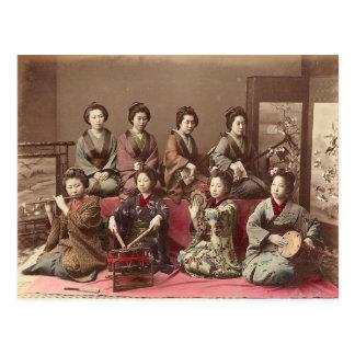 Cartão Postal Mulheres que jogam instrumentos musicais, vintage