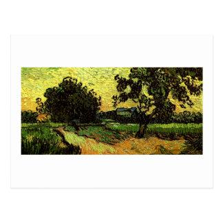 Cartão Postal Multa crepuscular de Van Gogh da paisagem de