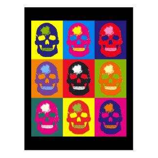 Cartão Postal Multi tela de seda colorida do crânio