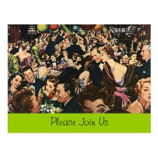 Cartão Postal Multidão retro da festança do partido de