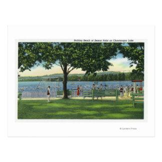 Cartão Postal Multidões na praia e no parque em Chautauqua
