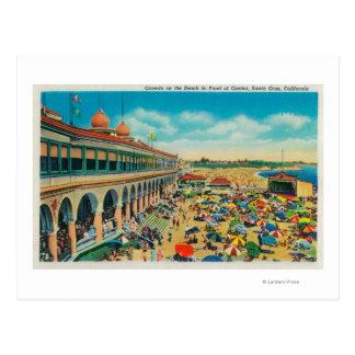 Cartão Postal Multidões na praia na frente do casino