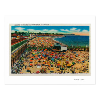 Cartão Postal Multidões na praia, papai noel CruzSanta Cruz, CA