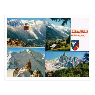 Cartão Postal Multiview dos cumes franceses do vintage, Chamonix