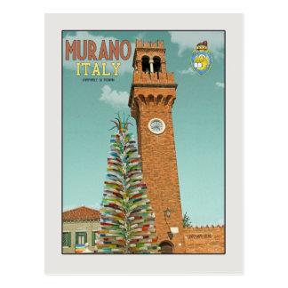 Cartão Postal Murano Camapnile e árvore de vidro